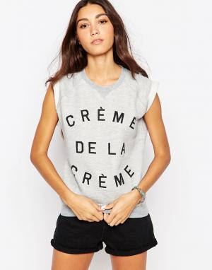 Майка с отворотами и надписью Crème De La Zoe Karssen. Цвет: серый вереск
