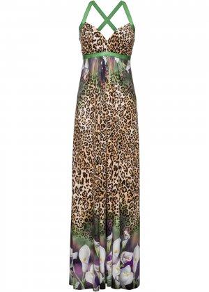 Летнее платье со стразами bonprix. Цвет: корич-невый