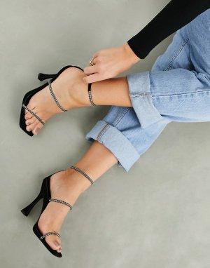 Черные босоножки на высоком каблуке со стразами ASOS DESIGN Negotiate-Черный цвет