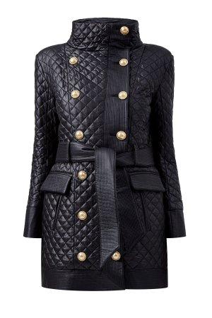 Стеганая куртка-тренчкот с поясом BALMAIN. Цвет: черный