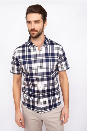 Рубашка приталенная из мерсеризированного хлопка с коротким рукавом KANZLER