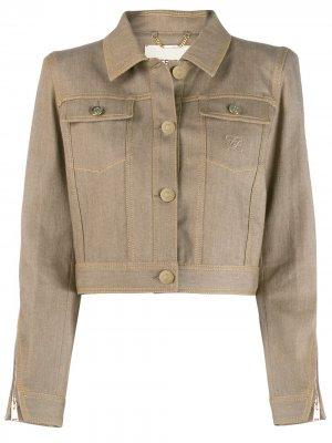 Укороченная джинсовая куртка Karligraphy Fendi. Цвет: нейтральные цвета