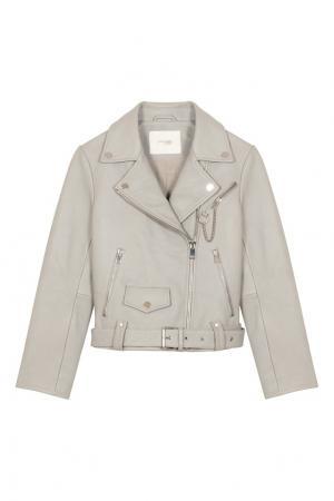 Серая кожаная куртка Maje. Цвет: серый