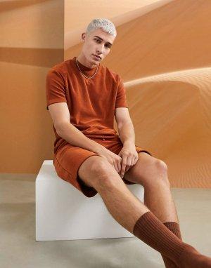 Махровый пижамный комплект из шорт и футболки рыжего цвета -Коричневый ASOS DESIGN