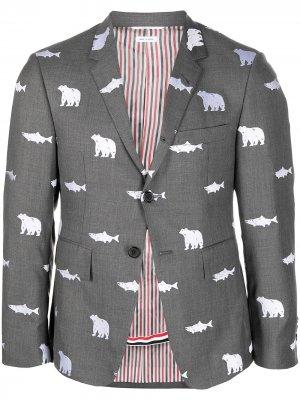 Однобортный пиджак с принтом Thom Browne. Цвет: серый