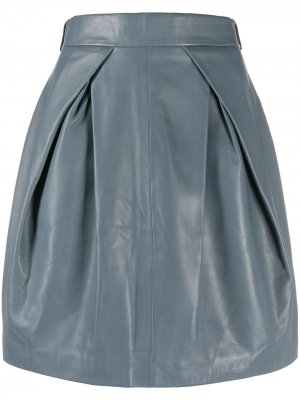 Кожаная юбка со складками Alberta Ferretti. Цвет: серый