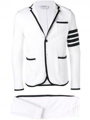 Трикотажный костюм с полосками 4-Bar Thom Browne. Цвет: белый