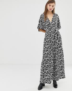 Комбинезон с рукавами-кимоно и леопардовым принтом -Черный Glamorous