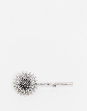 Серебристая брошь в виде чертополоха -Серебряный ASOS DESIGN