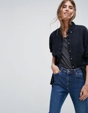 Черная джинсовая рубашка с выбеленным эффектом ASOS DESIGN. Цвет: черный
