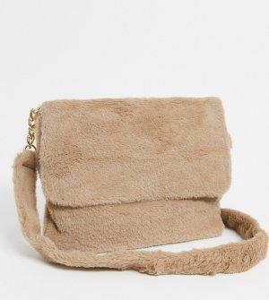 Эксклюзивная бежевая сумка через плечо из искусственного меха -Бежевый Glamorous