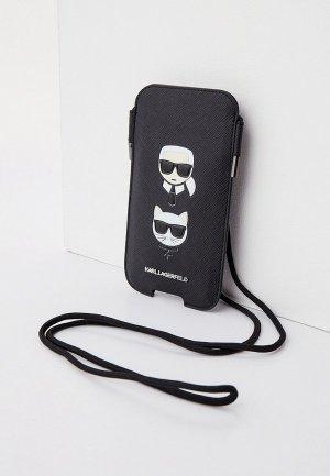 Чехол для iPhone Karl Lagerfeld Pouch, PU Saffiano & Choupette Black (M size). Цвет: черный