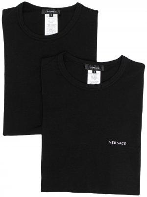 Комплект из двух футболок с круглым вырезом Versace. Цвет: черный