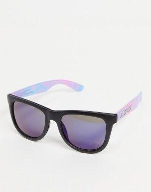 Солнцезащитные очки в черной оправе с дужками пастельных тонов -Черный цвет Santa Cruz