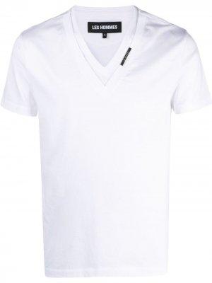 Многослойная футболка с V-образным вырезом Les Hommes. Цвет: белый