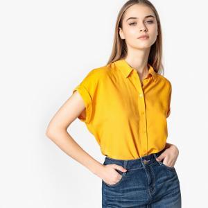 Блузка широкого покроя с воротником-поло и короткими рукаваим TOM TAILOR. Цвет: желтый