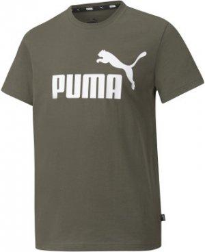 Футболка для мальчиков ESS, размер 140-146 Puma. Цвет: зеленый