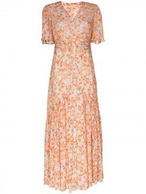 Платье макси с цветочным принтом byTiMo. Цвет: оранжевый