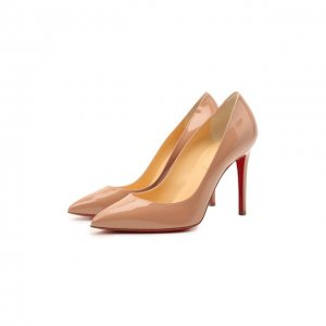 Кожаные туфли Pigalle 100 Christian Louboutin. Цвет: бежевый