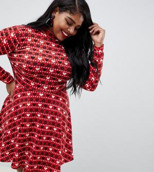 Новогоднее короткое приталенное платье с узором Фэйр-Айл в технике интарсия Club L Plus-Красный London Plus