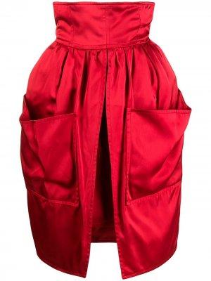 Юбка 1980-х годов с разрезом спереди Balenciaga Pre-Owned. Цвет: красный