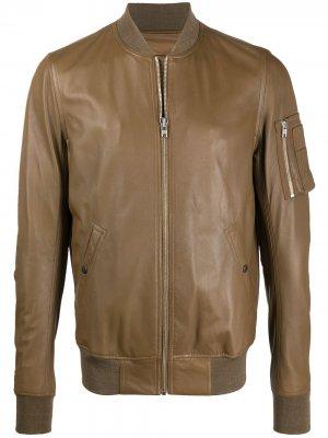 Байкерская куртка на молнии Rick Owens. Цвет: коричневый