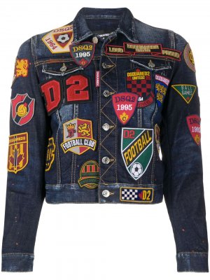 Декорированная джинсовая куртка с нашивками Dsquared2. Цвет: синий