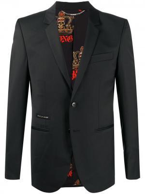 Однобортный пиджак Istitutional строгого кроя Philipp Plein. Цвет: черный