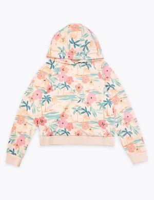 Хлопковое худи с тропическим принтом Marks & Spencer. Цвет: розовый микс