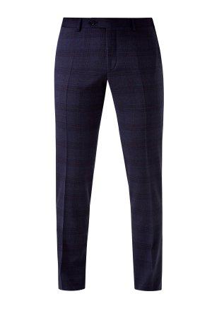 Классические брюки из шерстяной ткани с принтом в клетку CANALI. Цвет: синий
