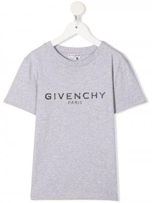 Футболка с логотипом Givenchy Kids. Цвет: серый