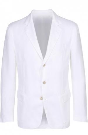Льняной приталенный пиджак 120% Lino. Цвет: белый