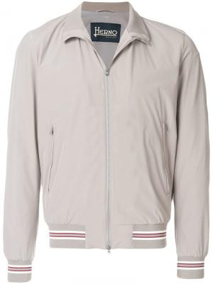 Куртка-бомбер с полосатой отделкой Herno. Цвет: серый