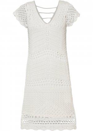 Платье вязаное bonprix. Цвет: белый