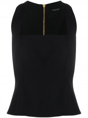 Топ с квадратным вырезом Versace. Цвет: черный