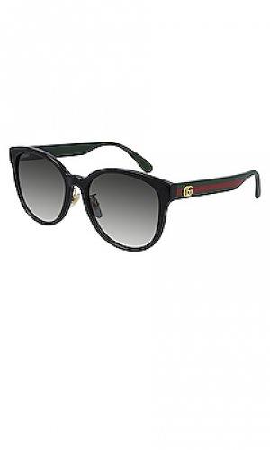 Солнцезащитные очки pop webbing round Gucci. Цвет: черный