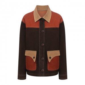 Замшевая куртка DROMe. Цвет: коричневый