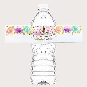 24шт с принтом единорога Бутылка для воды Наклейка SHEIN. Цвет: многоцветный