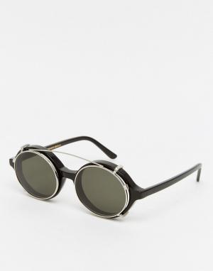 Солнцезащитные очки в круглой оправе Han Kjobenhavn. Цвет: черный
