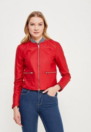 Куртка кожаная Jacqueline de Yong JA908EWZNX35. Цвет: красный