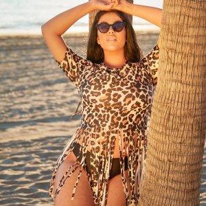 Леопардовое танкини размера плюс с коротким рукавом SHEIN. Цвет: многоцветный
