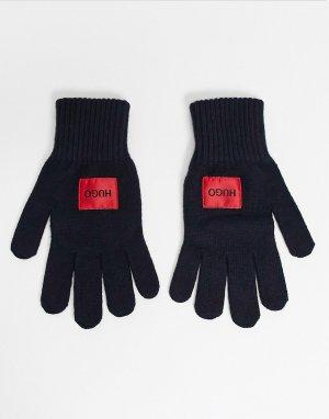 Темно-синие перчатки с логотипом HUGO-Темно-синий BOSS by Hugo