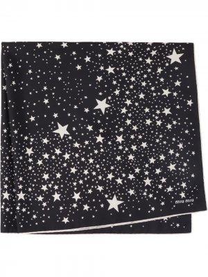 Платок с принтом Miu. Цвет: черный