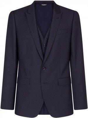Костюм-тройка с узором Dolce & Gabbana. Цвет: синий