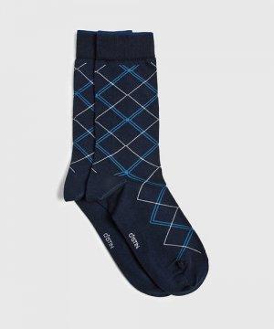Классические носки с жаккардом «ромбы» O`Stin. Цвет: темно-синий
