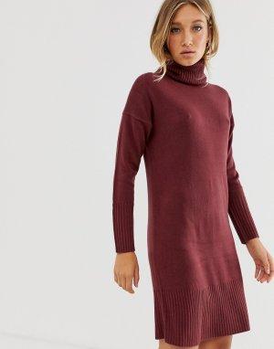 Платье-водолазка с длинными рукавами -Красный Only