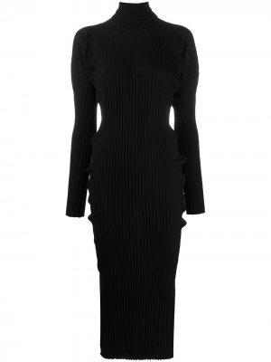 Трикотажное платье в рубчик Bottega Veneta. Цвет: черный