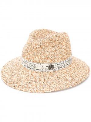 Плетеная шляпа-федора Maison Michel. Цвет: нейтральные цвета