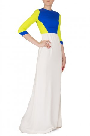 Трехцветное платье макси Antonio Berardi. Цвет: multicolor