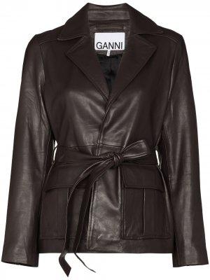 Куртка с поясом GANNI. Цвет: коричневый
